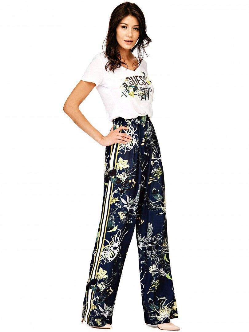 GUESS spodnie kwiaty wzór przewiewne lekkie S
